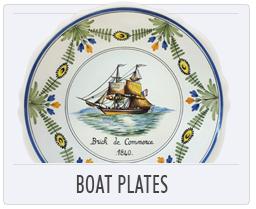 Quimper Malicorne Pottery Boat Plates
