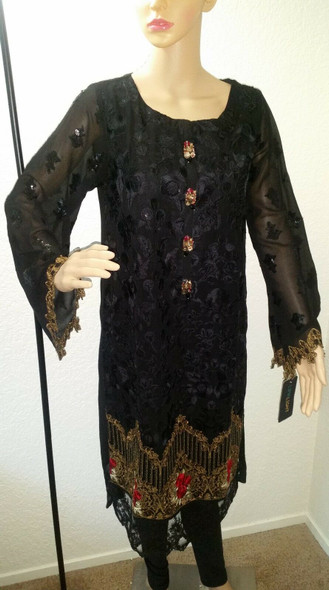 Lime Light Black Embroidered Long Shirt with Legging Party Wear (2 Piece)