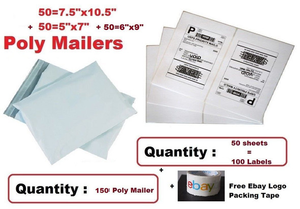 "50-5""x7"" & 50-7.5""x10.5"" & 50-6""x9"" Poly Mailers & 100 Blank Shipping Labels"