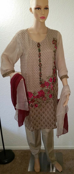 Lime Light Gold Collection Beige Embroidered Shirt and Dopatta 2 Piece