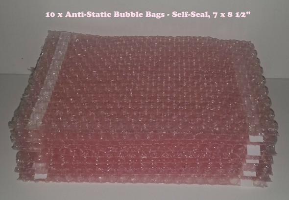 10 x Anti-Static Bubble Bags - Self-Seal, 7 x 8 1⁄2""