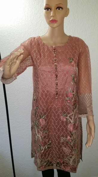 Lime Light Glod Light Pink Pakistani Indian Party Wear Dress (Pert Collection)