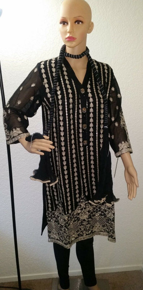 Lime Light Black Brown Embroidered 2-Piece Party Wear Dress