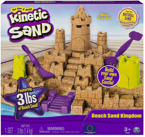 Kinetic Sand Beach Sand Kingdom Playset with 3lbs of Beach Sand, for Ages 3,Up
