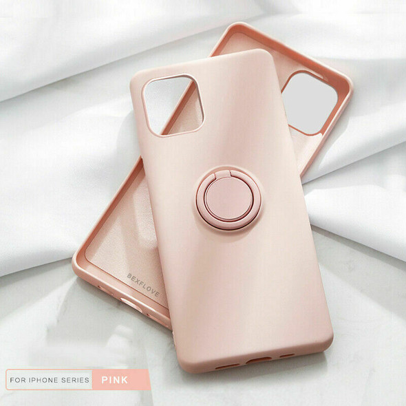 For iPhone 11 Shockproof Liquid Silicone Case Cover+Ring (Pink)