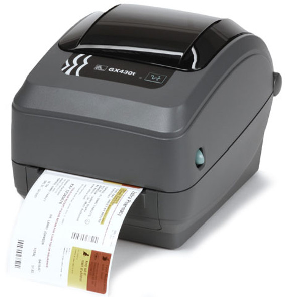 Zebra GX430t thermal transfer monochrome label printer 300dpi usb serial ethernet GX43-102410-000