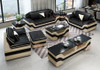 sofa set with 3 seats coffee table and TV Stand in genuine leather in cream and black
