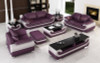 3 seater sofa set in violet and leather