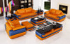 3 seater sofa set in orange and leather