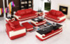 3 seater sofa set in red and leather