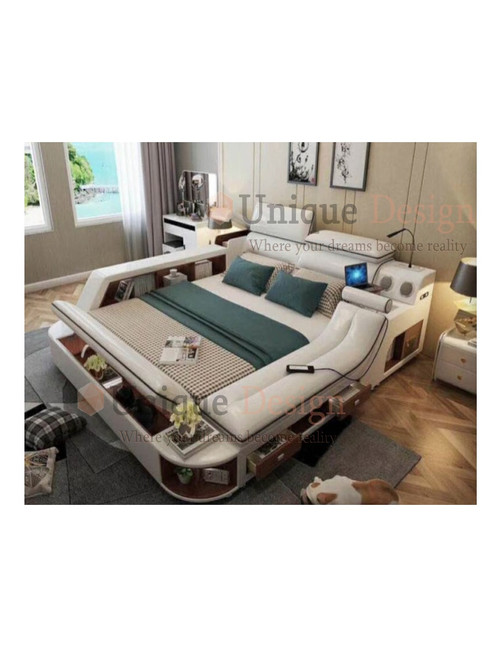 multifunctional bed in genuine leather with integrated massage, lifting platform, safe box, USB charge station and reading lamp