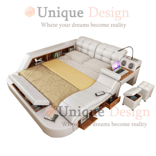 genuine leather multifunctional bed with massage and USB charge box