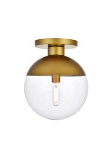 Eclipse 1 Light Brass Flush Mount With Clear Glass (758 LD6061BR)