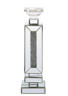 16.5 inch tall Crystal CandleholderSilver Royal Cut Crystal (758|MR9204)