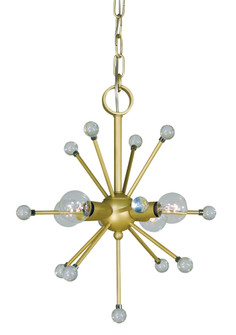 4-Light Satin Brass Supernova Chandelier (3084 SB)