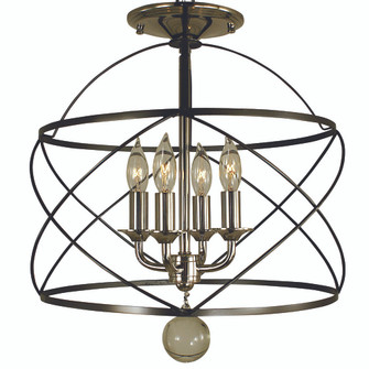 4-Light Mahogany Bronze/Polished Nickel Nantucket Flush / Semi Flush Mount (84|4411 MB/PN)