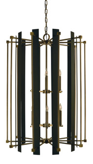 12-Light Antique Brass/Matte Black Louvre Chandelier (84 4806 AB/MBLACK)