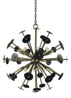 20-Light Antique Brass/Mahogany Bronze Apogee Chandelier (84 4978 AB/MB)