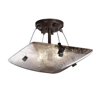 """14"""" Semi-Flush Bowl w/ Finials (FSN-9650-25-WEVE-DBRZ-F5)"""