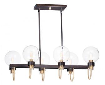 Bauhaus 6-Light Linear Chandelier (19|30519CLBZSBR)