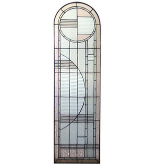 """15""""W X 54""""H Arc Deco Right Sided Stained Glass Window (96 22869)"""