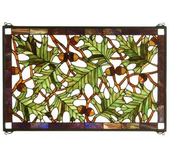 """28""""W X 18""""H Acorn & Oak Leaf Stained Glass Window (96 66276)"""