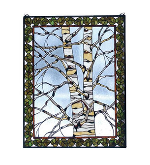 "28""W X 36""H Birch Tree in Winter Stained Glass Window (96 73265)"