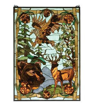 """25""""W X 35""""H Wilderness Stained Glass Window (96 77732)"""
