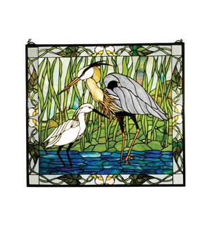 "30""W X 27""H Blue Heron & Snowy Egret Stained Glass Window (96 62955)"