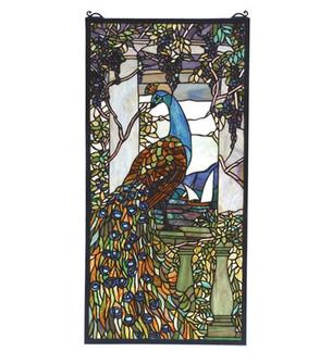 """15""""W X 30""""H Tiffany Peacock Wisteria Stained Glass Window (96 70519)"""