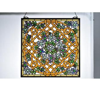 """22""""W X 22""""H Shamrock Garden Stained Glass Window (96 99027)"""