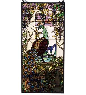 """19""""W X 40""""H Tiffany Peacock Wisteria Stained Glass Window (96 50562)"""