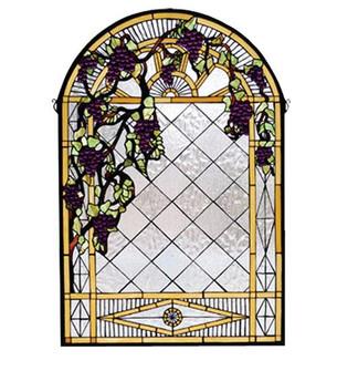 """24""""W X 36""""H Grape Diamond Trellis Stained Glass Window (96 66048)"""