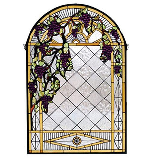 24''W X 36''H Grape Diamond Trellis Stained Glass Window (96|66048)