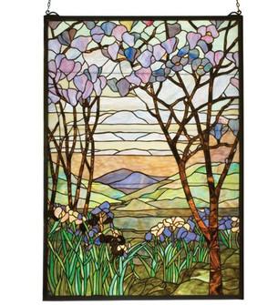 """29""""W X 40""""H Tiffany Magnolia & Iris Stained Glass Window (96 12514)"""