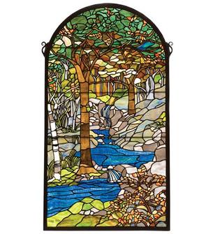 """40""""H X 22""""W Tiffany Waterbrooks Stained Glass Window (96 77530)"""