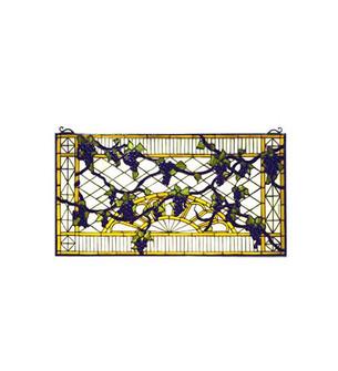 """17""""W X 32""""H Grape Diamond Trellis Stained Glass Window (96 79789)"""