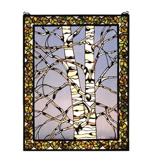 """28""""W X 36""""H Birch Tree in Winter Right Stained Glass Window (96 66636)"""