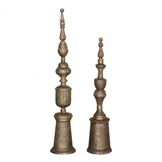 Uttermost Nalini Antique Gold Finials S/2 (85|18847)
