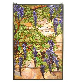"""32""""W X 48""""H Tiffany Wisteria & Snowball Stained Glass Window (96 51338)"""