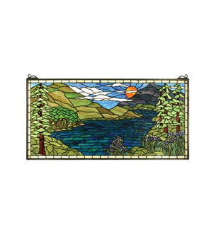 """40""""W X 20""""H Sunset Meadow Stained Glass Window (96 65497)"""