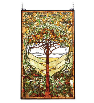 "29""W X 48""H Tiffany Tree of Life Stained Glass Window (96 74065)"