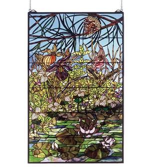 """30""""W X 48""""H Woodland LilyPond Stained Glass Window (96 50563)"""