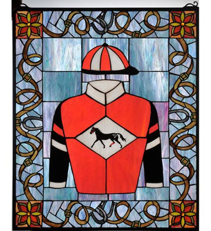 """25""""W X 30""""H Jockey Silks Stained Glass Window (96 99363)"""