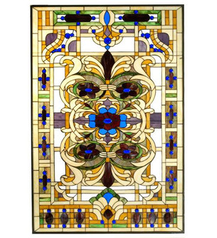 """32""""W X 48""""H Estate Floral Stained Glass Window (96 71888)"""