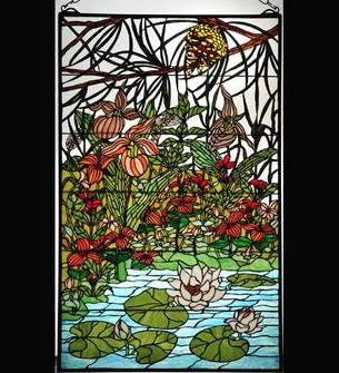 """30""""W X 48""""H Woodland LilyPond Stained Glass Window (96 77661)"""