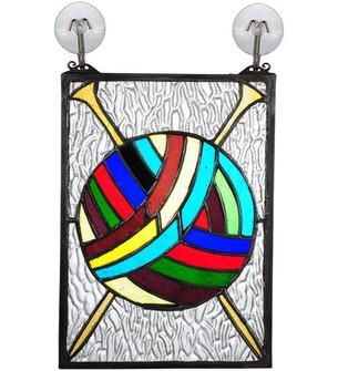 """6""""W X 9""""H Ball of Yarn W Needles Stained Glass Window (96 72347)"""