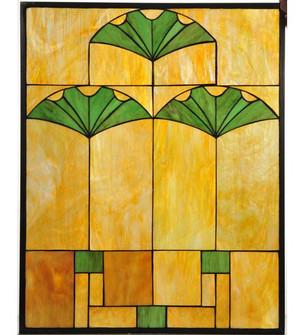 """20""""W x 25""""H Ginko Stained Glass Window image"""