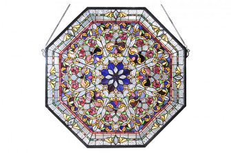 """25""""W X 25""""H Floral Stained Glass Window (96 107222)"""