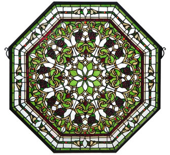 """25""""W X 25""""H Floral Stained Glass Window (96 107223)"""
